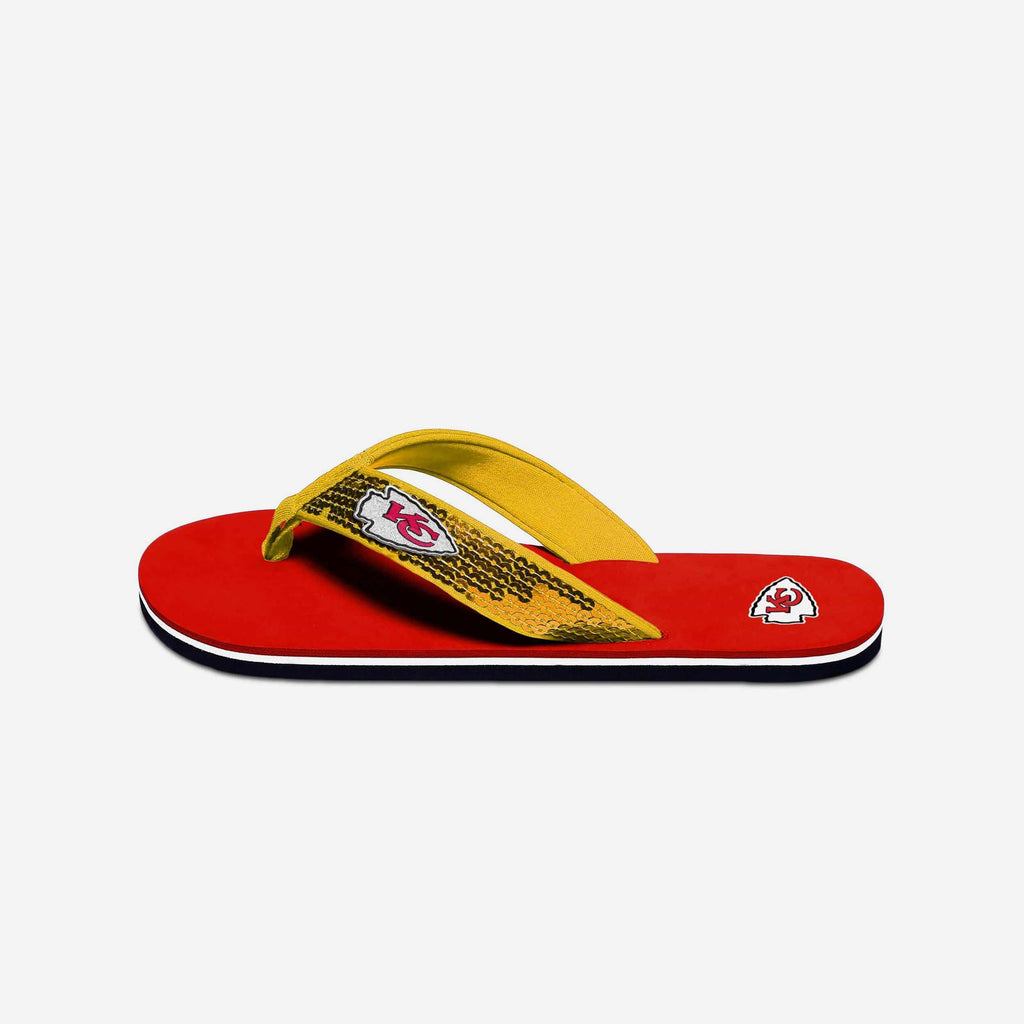 Kansas City Chiefs Womens Sequin Flip Flop FOCO - FOCO.com