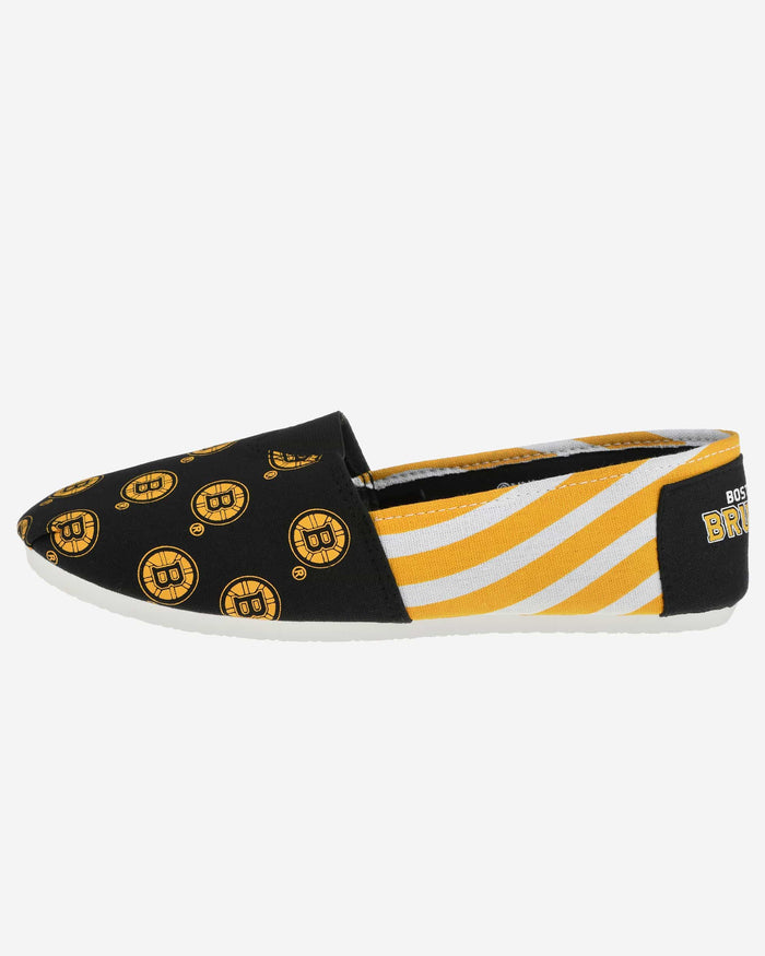 Boston Bruins Womens Stripe Canvas Shoe FOCO - FOCO.com