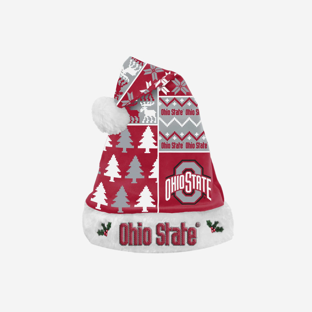 Ohio State Buckeyes Busy Block Family Holiday Santa Hat FOCO - FOCO.com