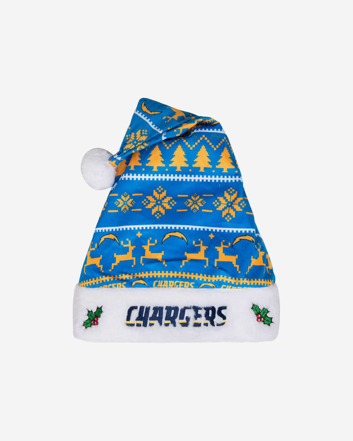 Los Angeles Chargers Family Holiday Santa Hat FOCO - FOCO.com