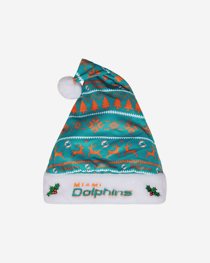 Miami Dolphins Family Holiday Santa Hat FOCO - FOCO.com