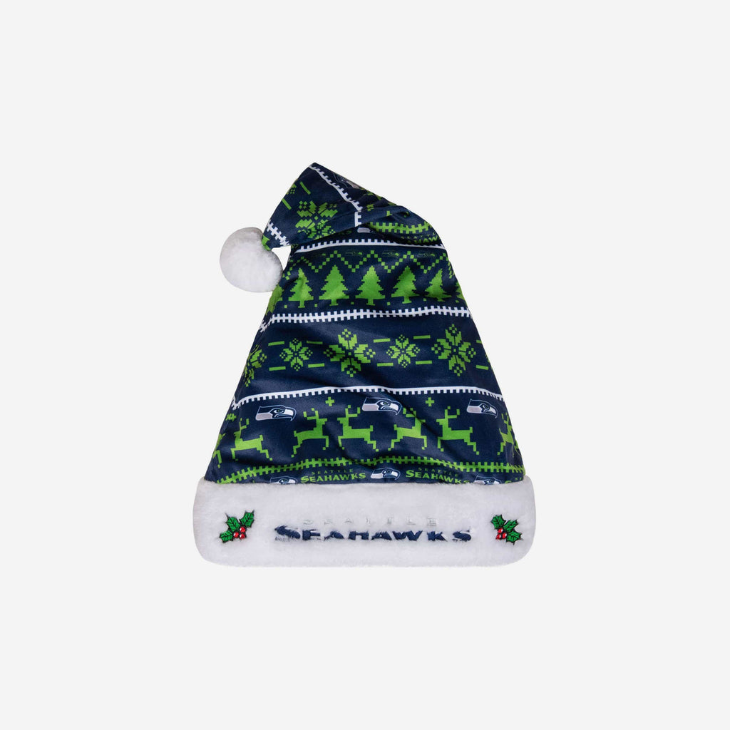 Seattle Seahawks Family Holiday Santa Hat FOCO - FOCO.com