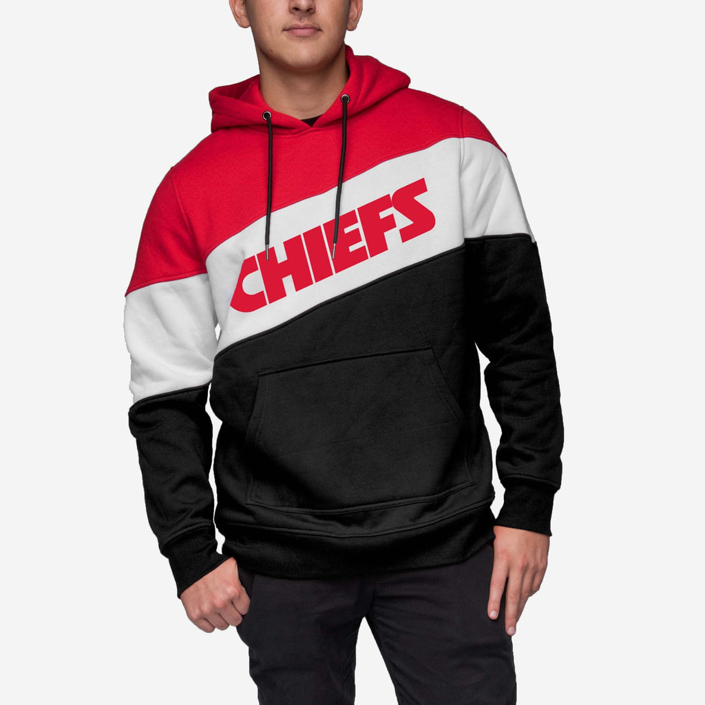 Kansas City Chiefs Wordmark Colorblock Hoodie FOCO - FOCO.com
