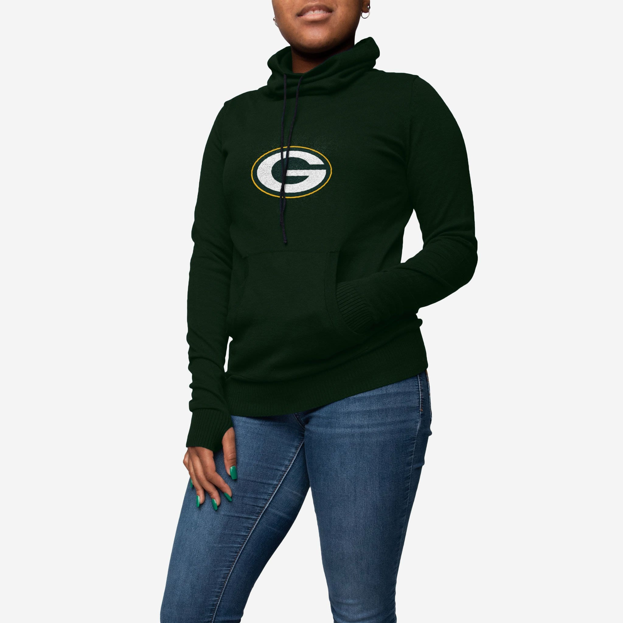 86b6c2f9687 Green Bay Packers Womens Cowl Neck Sweater FOCO - FOCO.com