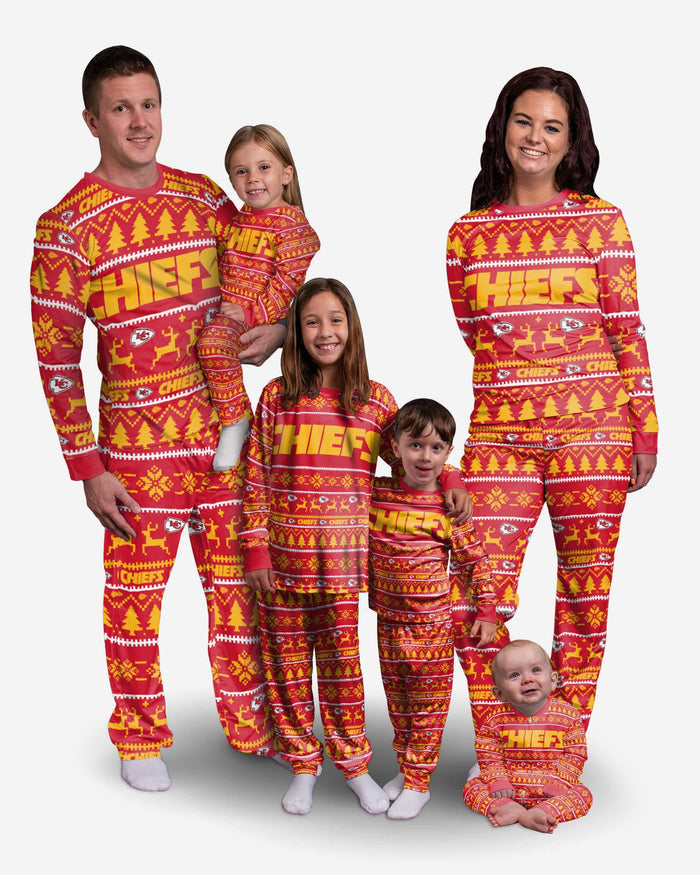Kansas City Chiefs Youth Family Holiday Pajamas FOCO - FOCO.com