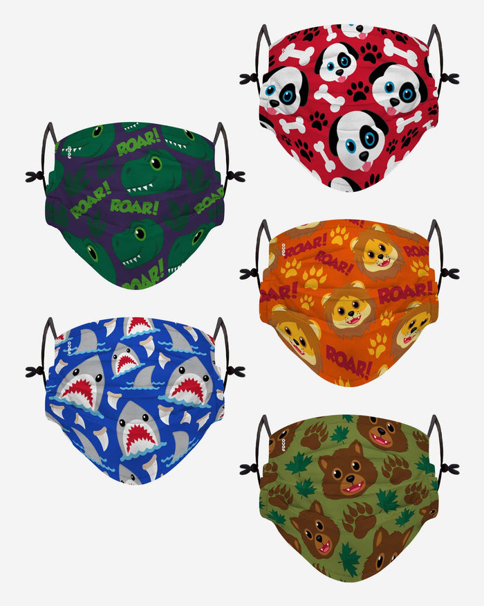 Animal Bright Pack Youth Adjustable 5 Pack Face Cover FOCO - FOCO.com
