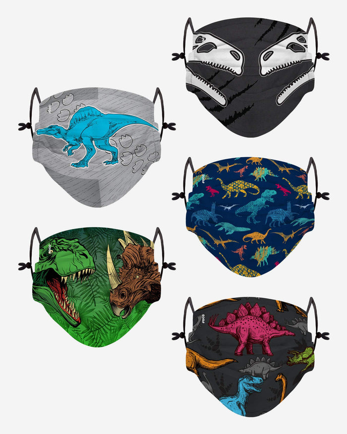 Dinosaur Pack Youth Adjustable 5 Pack Face Cover FOCO - FOCO.com