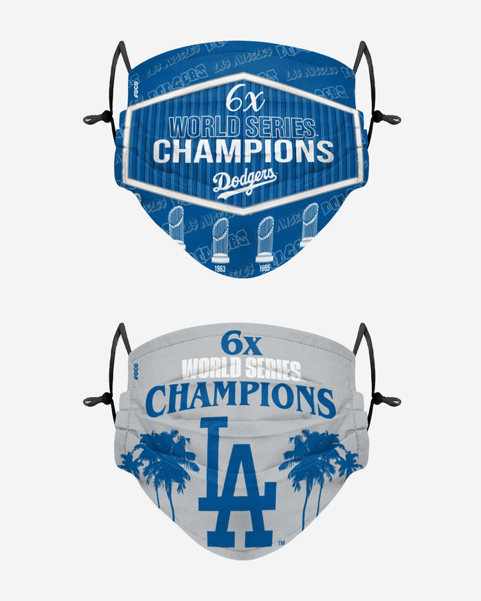 Los Angeles Dodgers Thematic Champions Adjustable 2 Pack Face Cover FOCO - FOCO.com