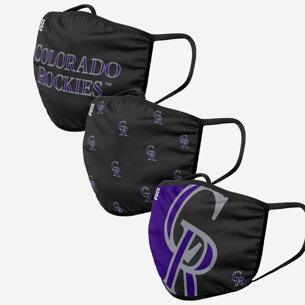 Colorado Rockies 3 Pack Face Cover FOCO Adult - FOCO.com