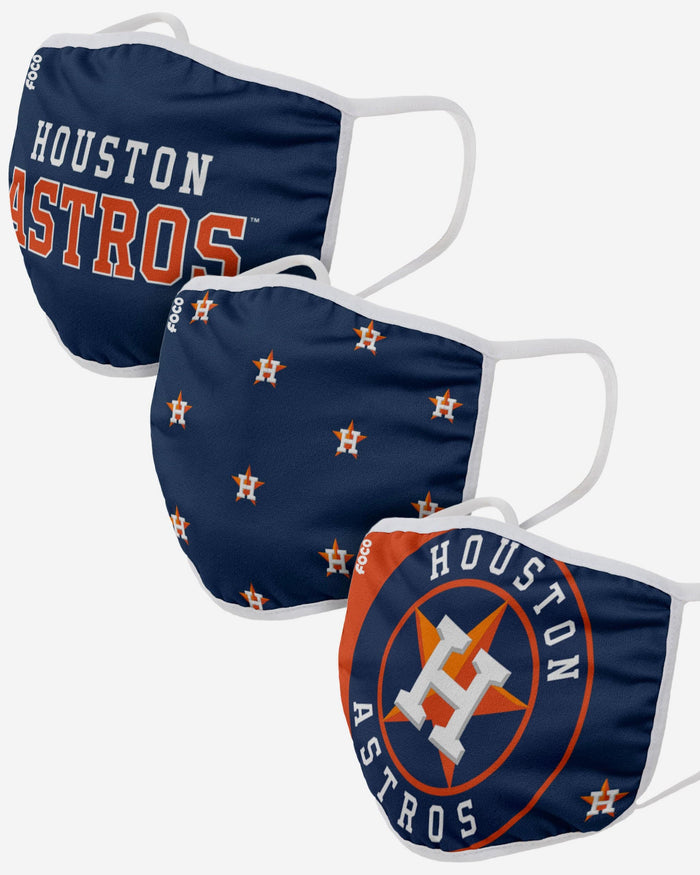 Houston Astros 3 Pack Face Cover FOCO Adult - FOCO.com