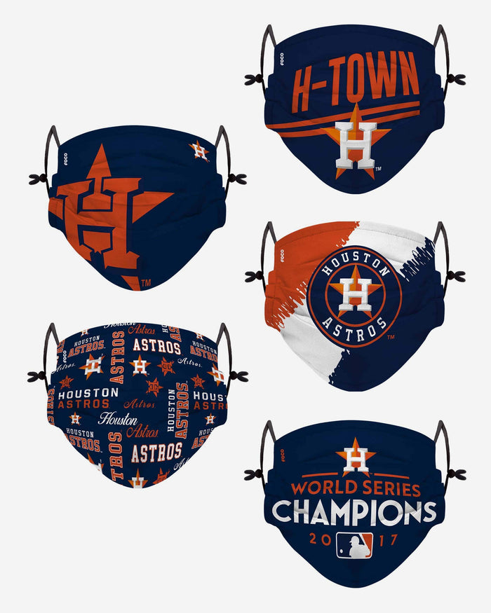 Houston Astros Youth Rising Stars Adjustable 5 Pack Face Cover FOCO - FOCO.com