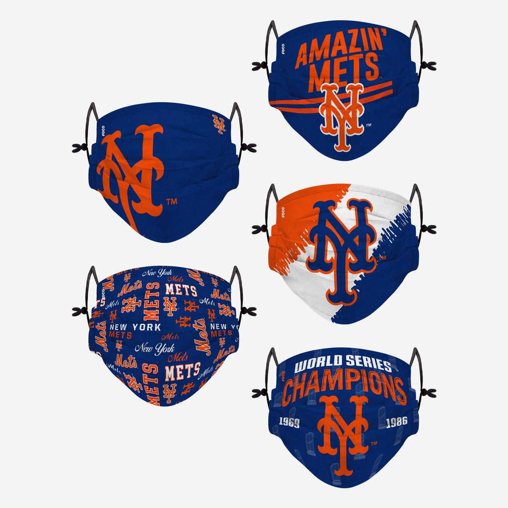 New York Mets Youth Rising Stars Adjustable 5 Pack Face Cover FOCO - FOCO.com