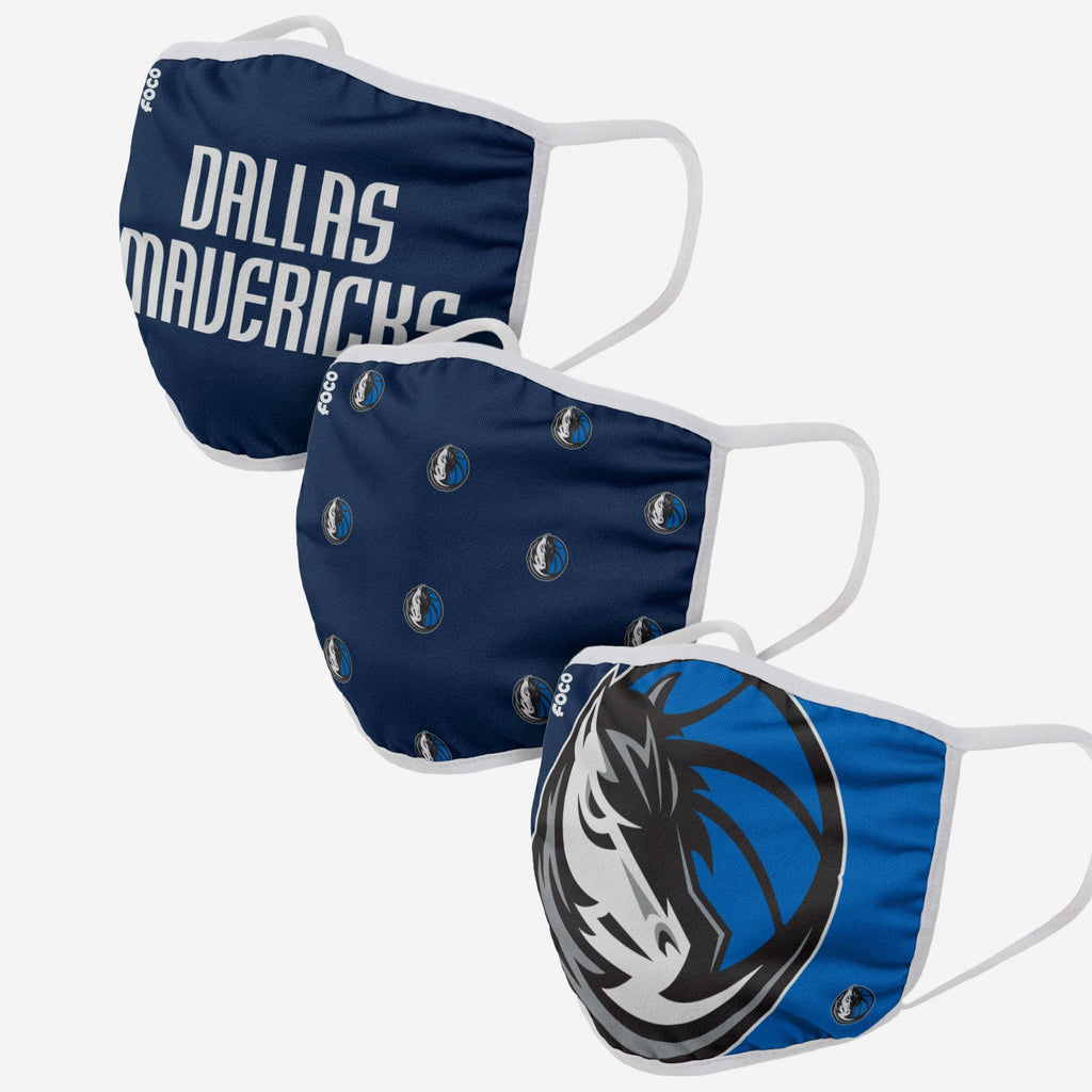 Dallas Mavericks 3 Pack Face Cover FOCO Adult - FOCO.com