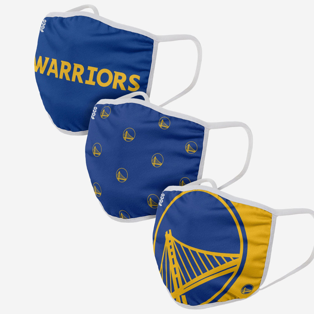 Golden State Warriors 3 Pack Face Cover FOCO Adult - FOCO.com