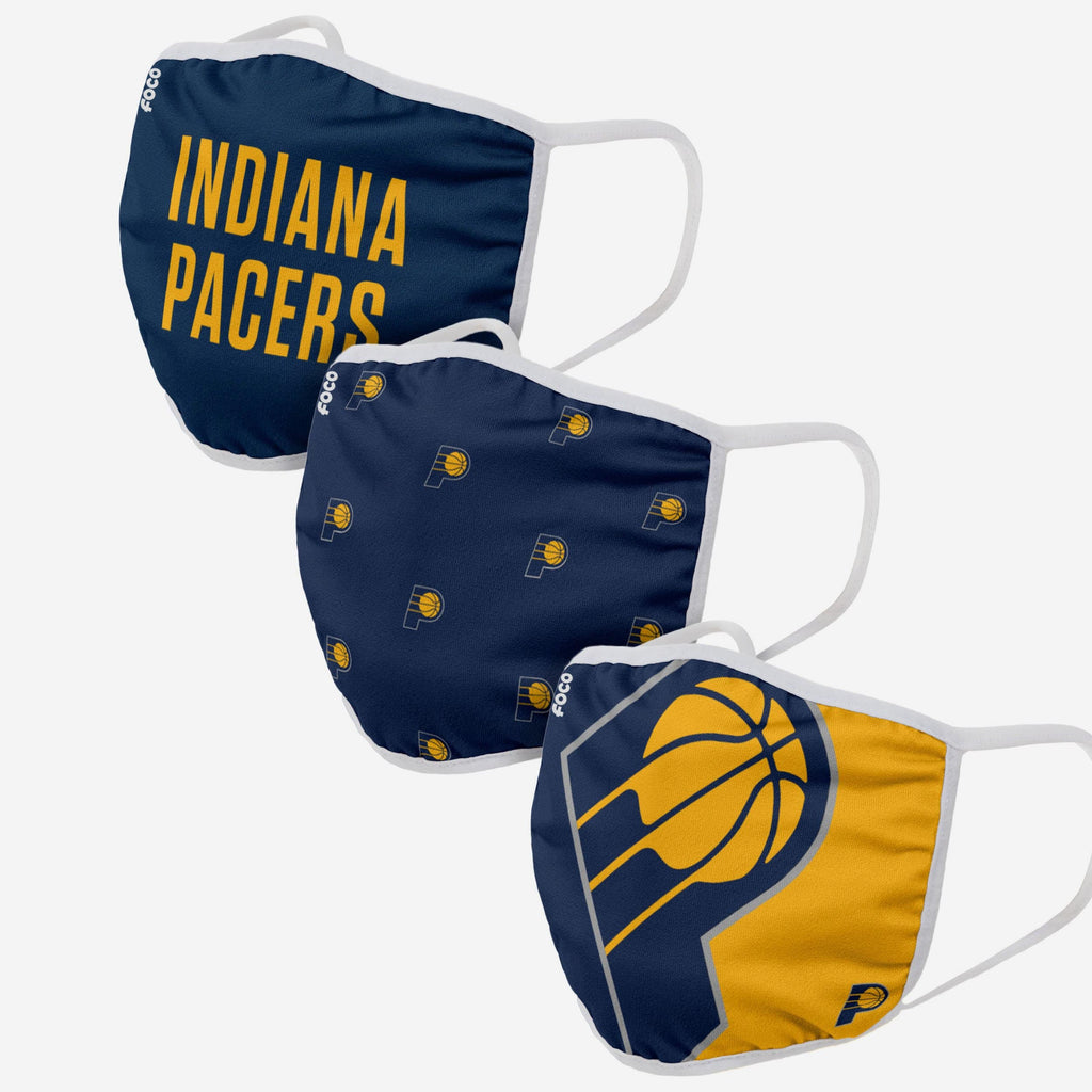 Indiana Pacers 3 Pack Face Cover FOCO Adult - FOCO.com