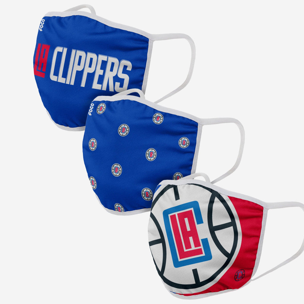 Los Angeles Clippers 3 Pack Face Cover FOCO Adult - FOCO.com