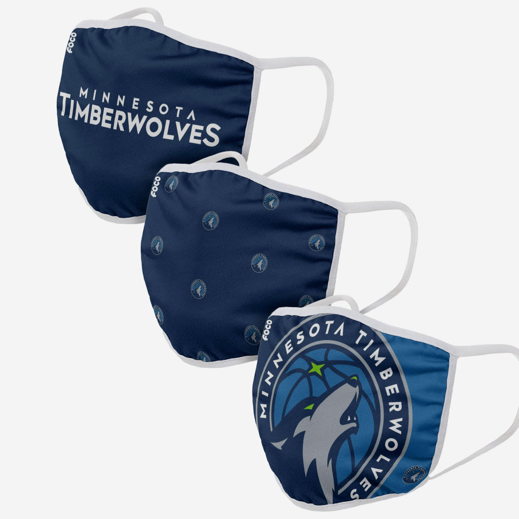 Minnesota Timberwolves 3 Pack Face Cover FOCO Adult - FOCO.com