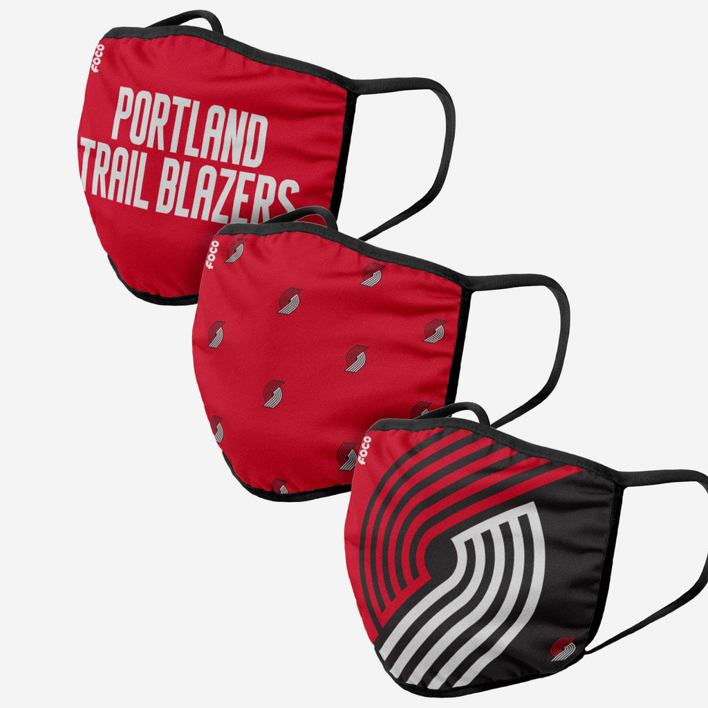Portland Trail Blazers 3 Pack Face Cover FOCO Adult - FOCO.com