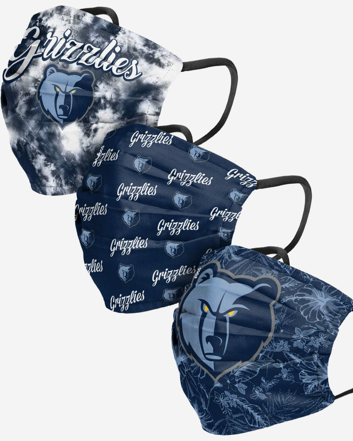 Memphis Grizzlies Womens Matchday 3 Pack Face Cover FOCO - FOCO.com
