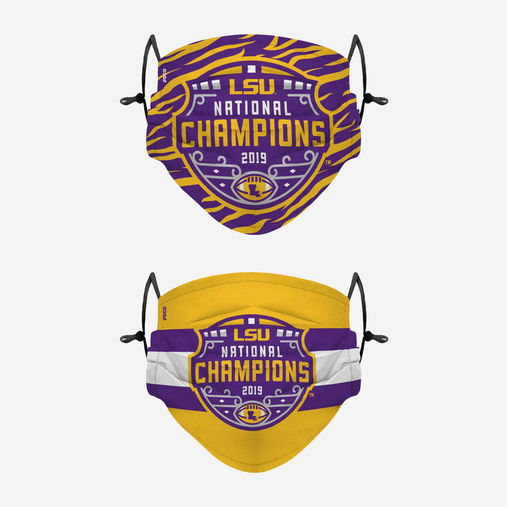 LSU Tigers 2019 Football National Champions Adjustable 2 Pack Face Cover FOCO - FOCO.com