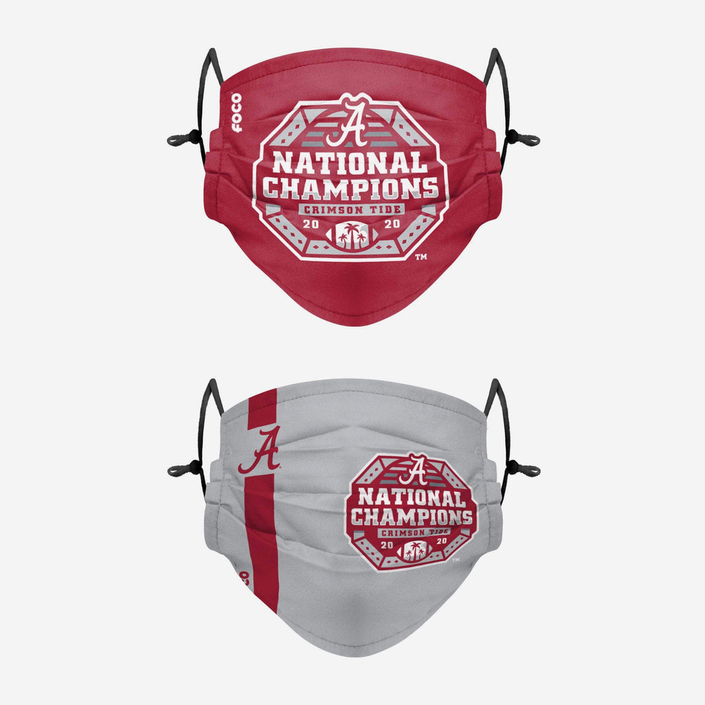 Alabama Crimson Tide 2020 Football National Champions Adjustable 2 Pack Face Cover FOCO - FOCO.com