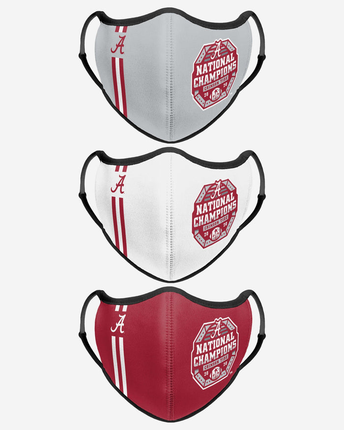 Alabama Crimson Tide 2020 Football National Champions Sport 3 Pack Face Cover FOCO - FOCO.com