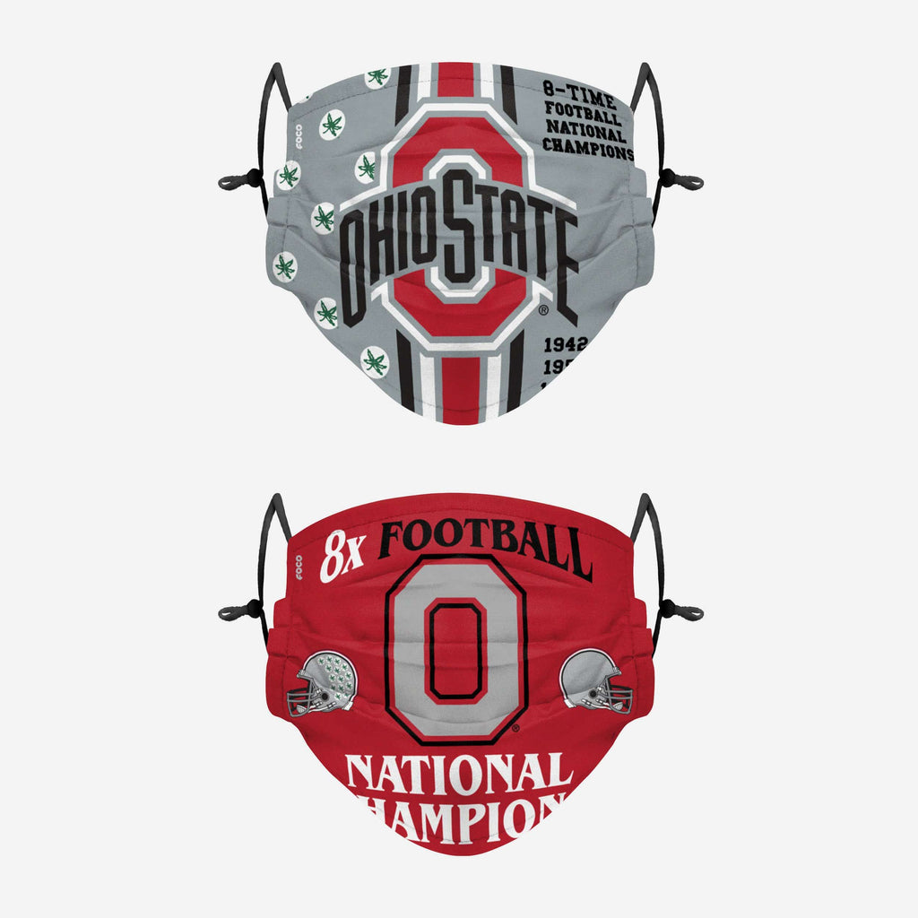 Ohio State Buckeyes Thematic Champions Adjustable 2 Pack Face Cover FOCO - FOCO.com