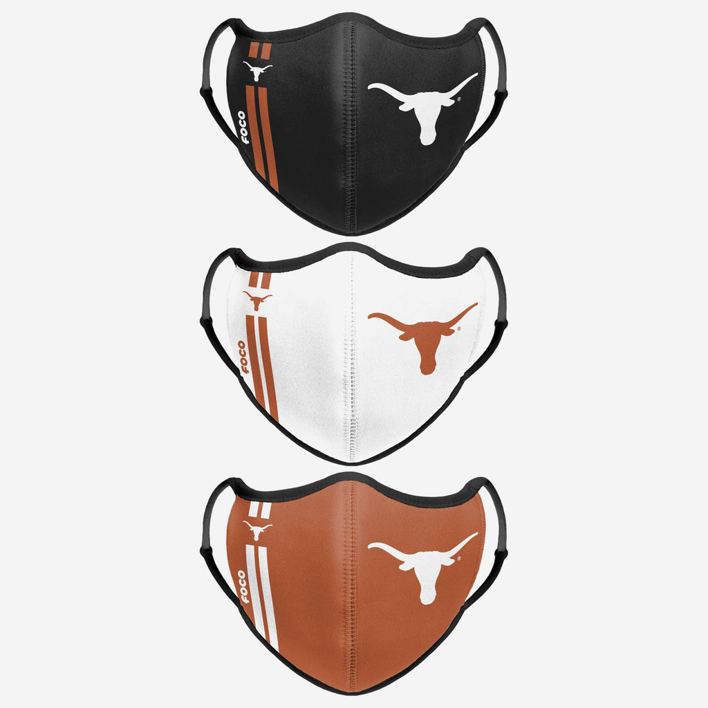 Texas Longhorns Sport 3 Pack Face Cover FOCO - FOCO.com