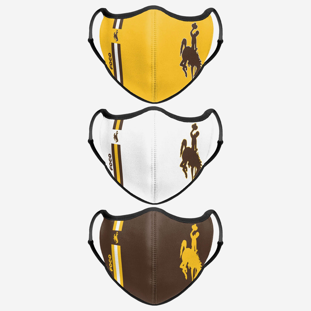 Wyoming Cowboys Sport 3 Pack Face Cover FOCO - FOCO.com