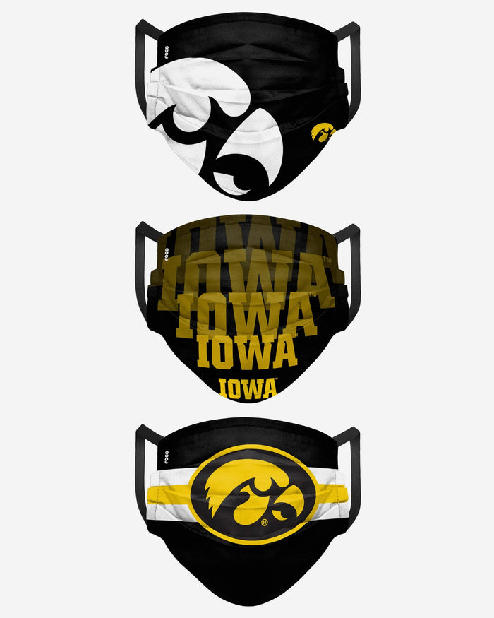 Iowa Hawkeyes Matchday 3 Pack Face Cover FOCO - FOCO.com