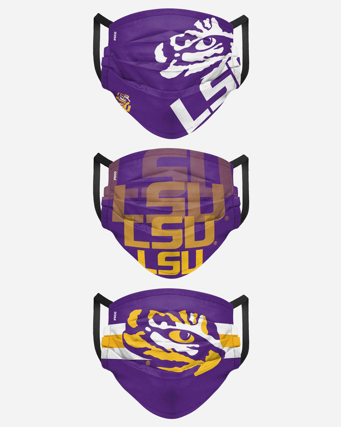 LSU Tigers Matchday 3 Pack Face Cover FOCO - FOCO.com