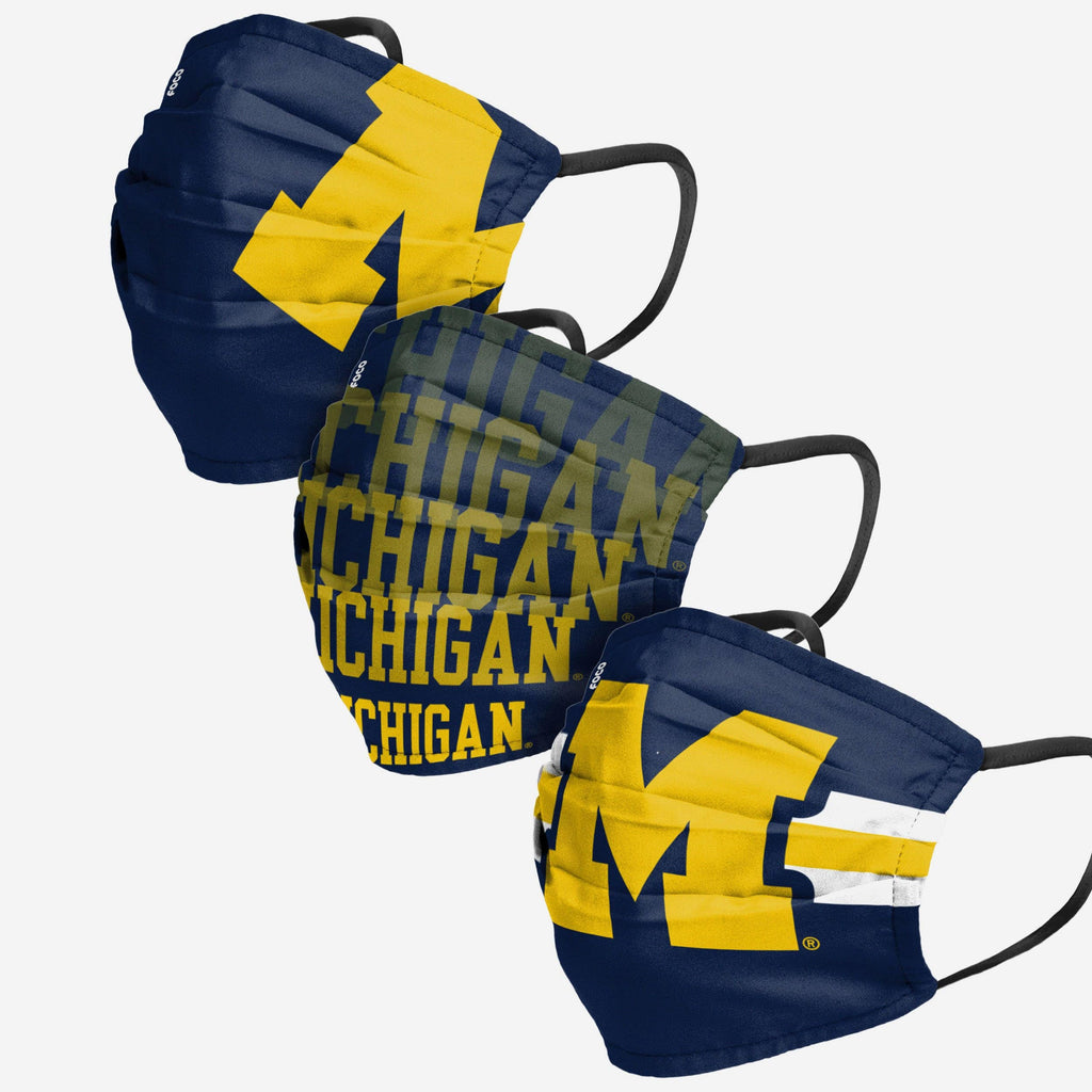 Michigan Wolverines Matchday 3 Pack Face Cover FOCO - FOCO.com