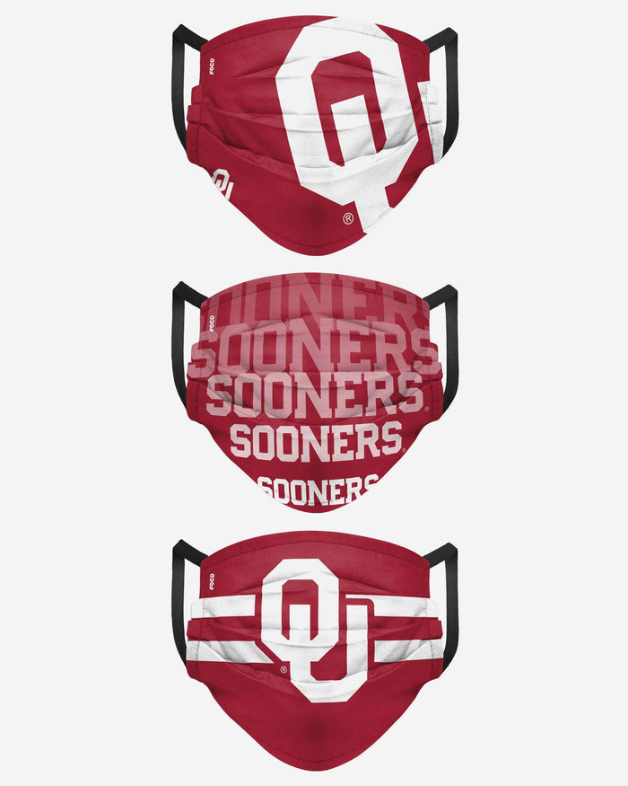 Oklahoma Sooners Matchday 3 Pack Face Cover FOCO - FOCO.com