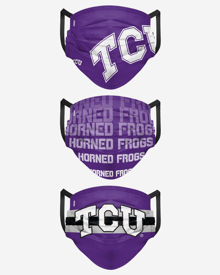 TCU Horned Frogs Matchday 3 Pack Face Cover FOCO - FOCO.com