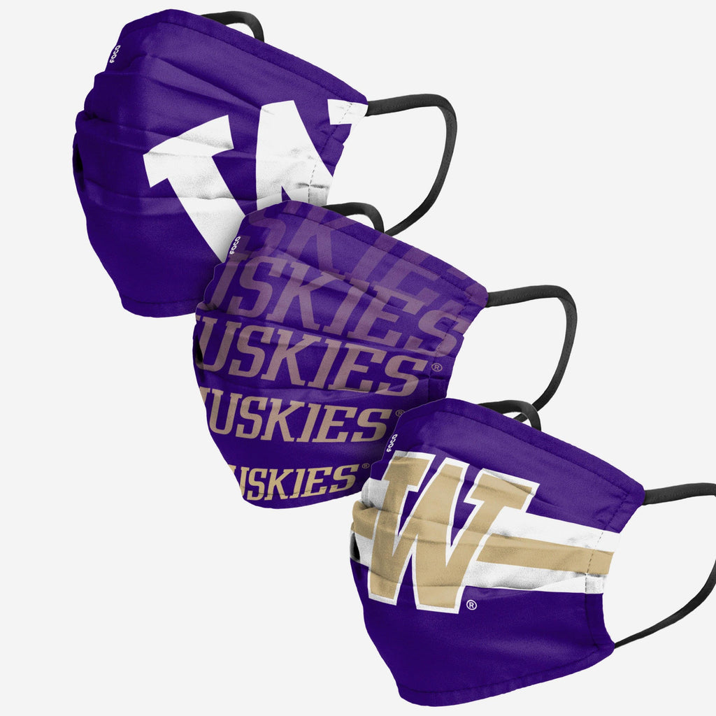 Washington Huskies Matchday 3 Pack Face Cover FOCO - FOCO.com