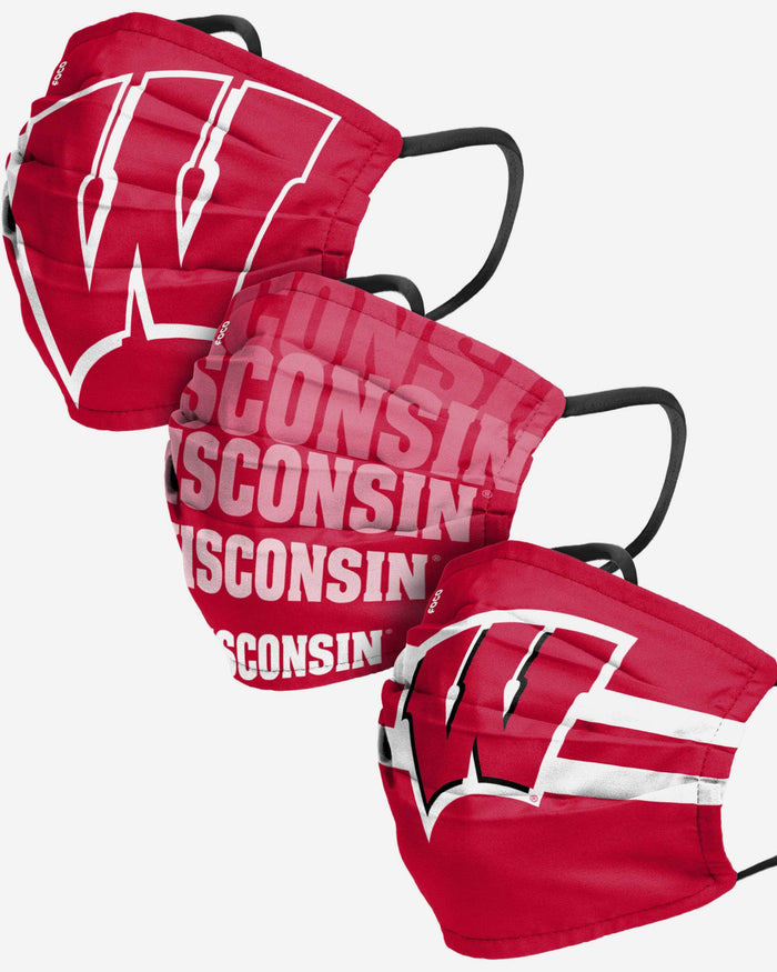 Wisconsin Badgers Matchday 3 Pack Face Cover FOCO - FOCO.com