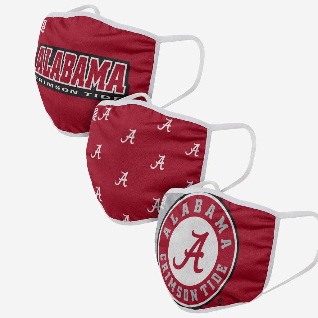 Alabama Crimson Tide 3 Pack Face Cover FOCO Adult - FOCO.com