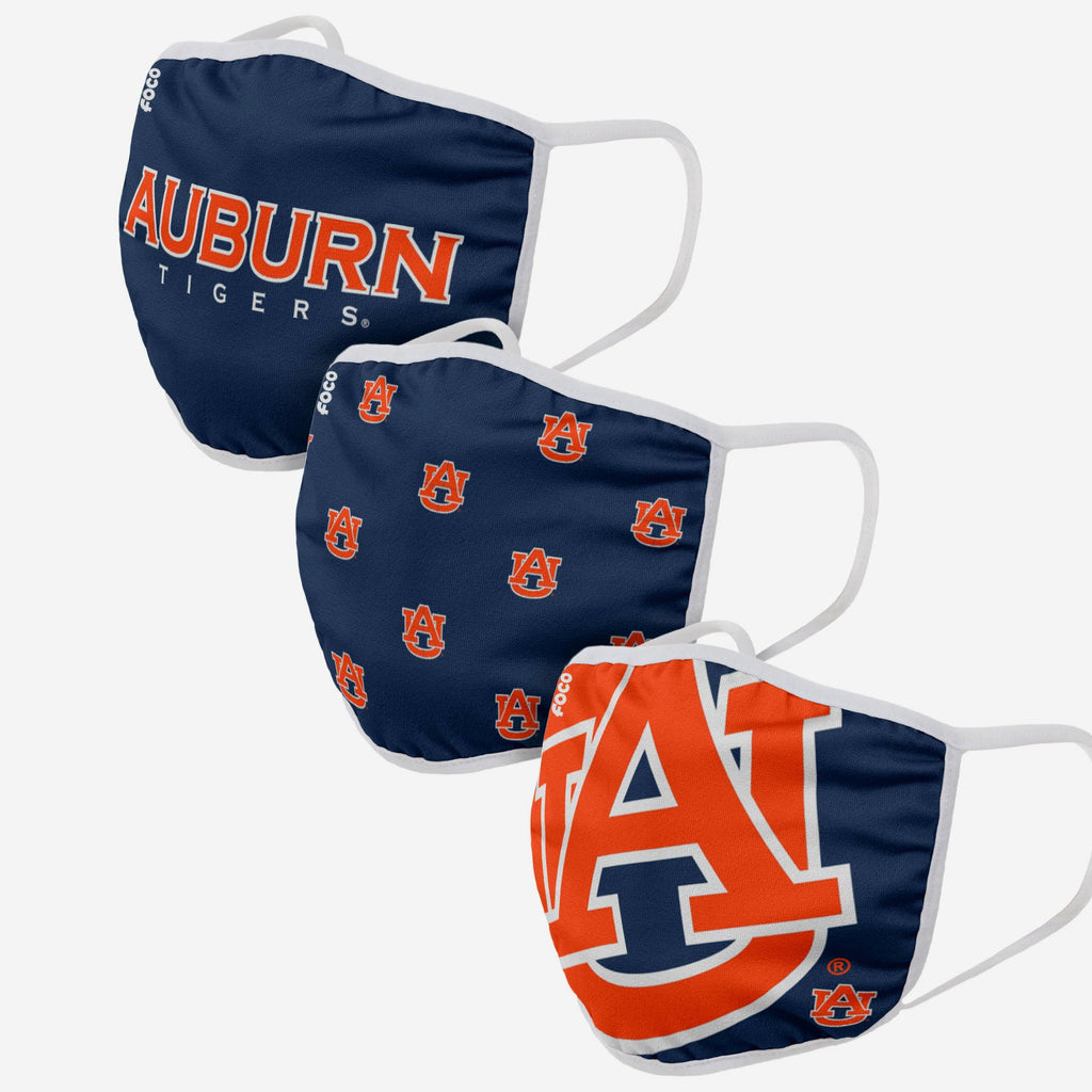Auburn Tigers 3 Pack Face Cover FOCO - FOCO.com