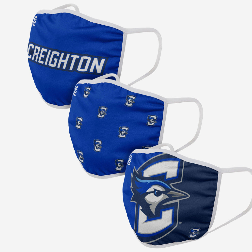 Creighton Bluejays 3 Pack Face Cover FOCO - FOCO.com