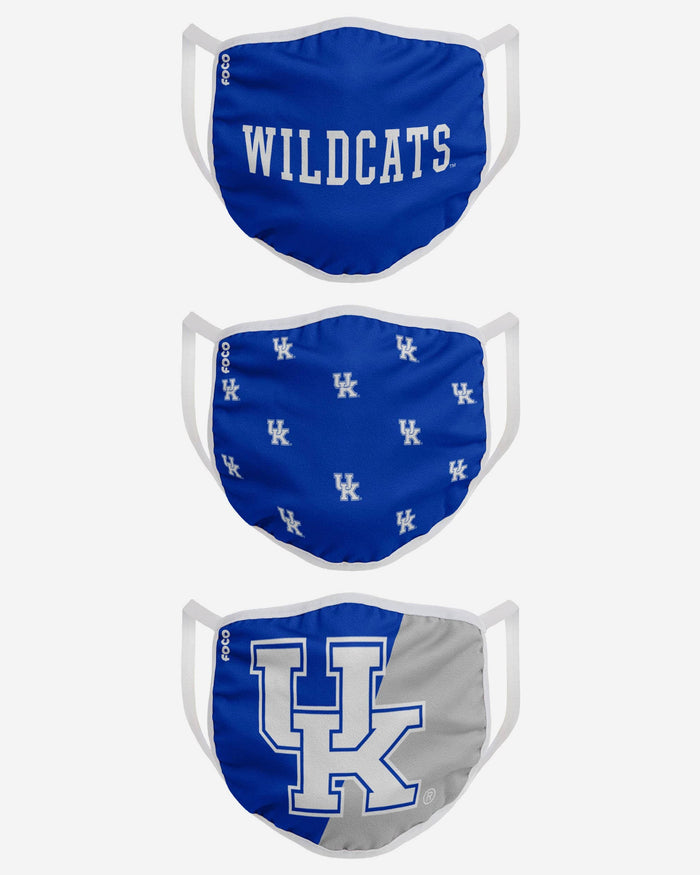 Kentucky Wildcats 3 Pack Face Cover FOCO - FOCO.com