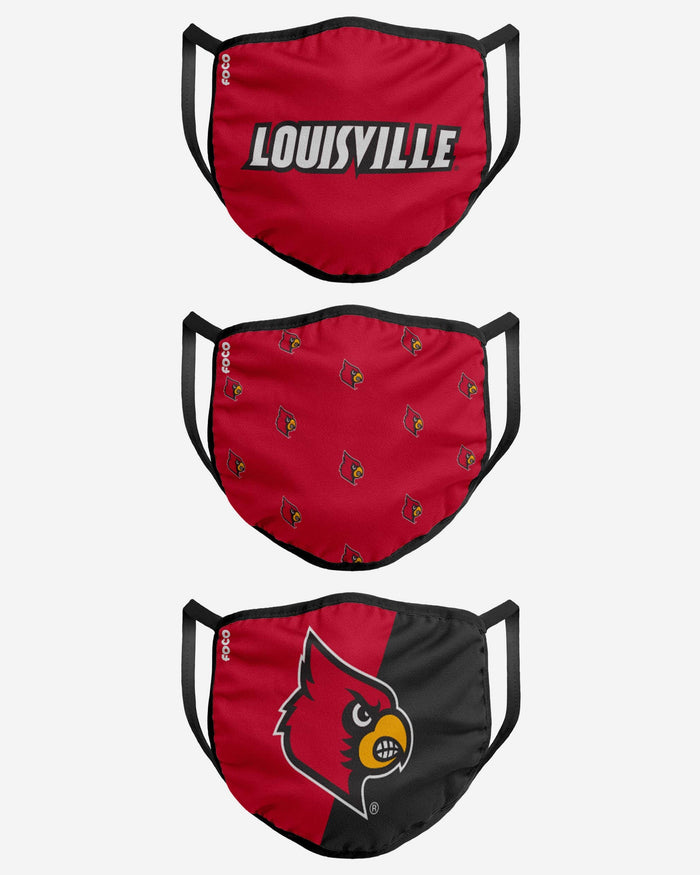Louisville Cardinals 3 Pack Face Cover FOCO - FOCO.com
