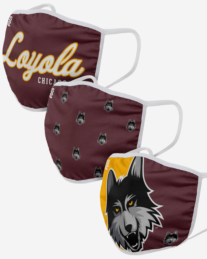 Loyola Chicago Ramblers 3 Pack Face Cover FOCO - FOCO.com