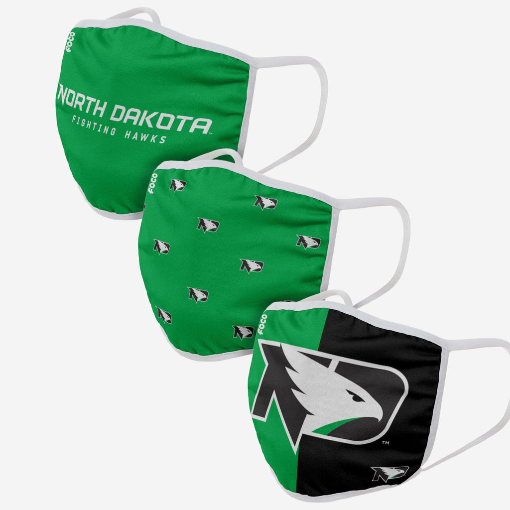 North Dakota Fighting Hawks 3 Pack Face Cover FOCO - FOCO.com