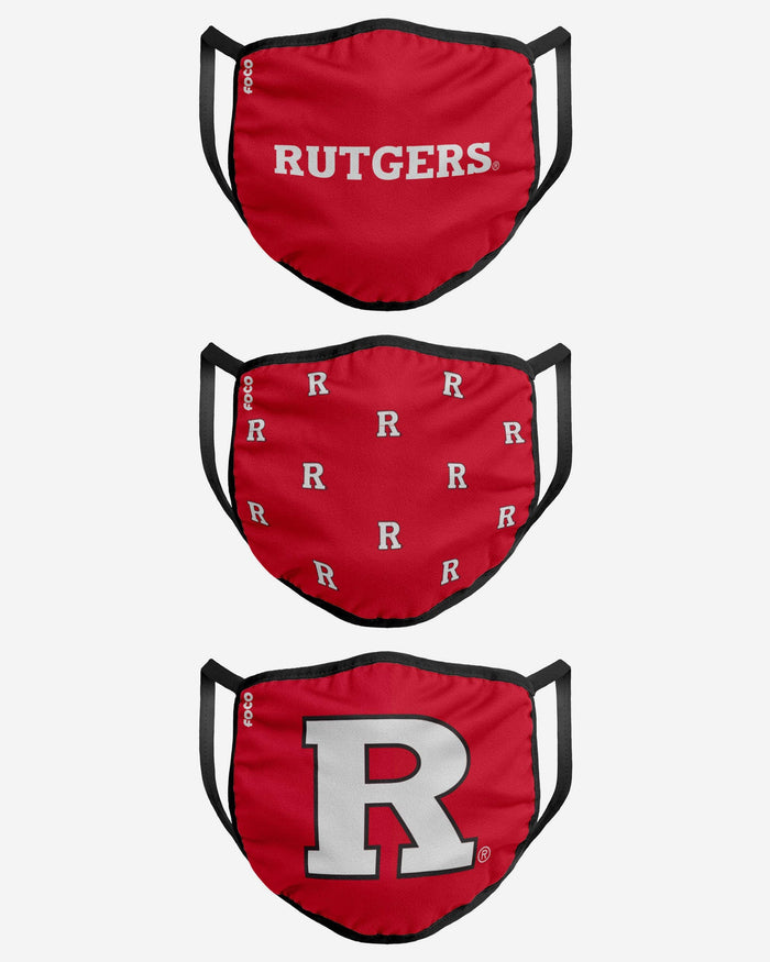 Rutgers Scarlet Knights 3 Pack Face Cover FOCO - FOCO.com