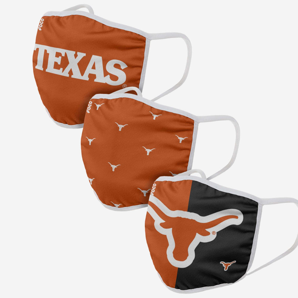 Texas Longhorns 3 Pack Face Cover FOCO - FOCO.com