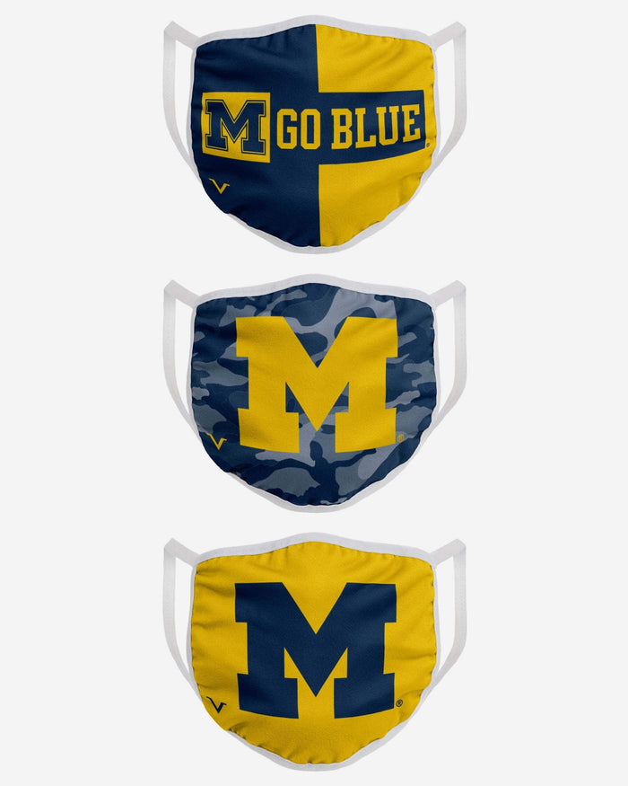 Michigan Wolverines 3 Pack Face Cover FOCO - FOCO.com