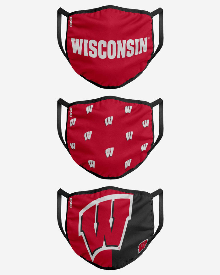Wisconsin Badgers 3 Pack Face Cover FOCO - FOCO.com