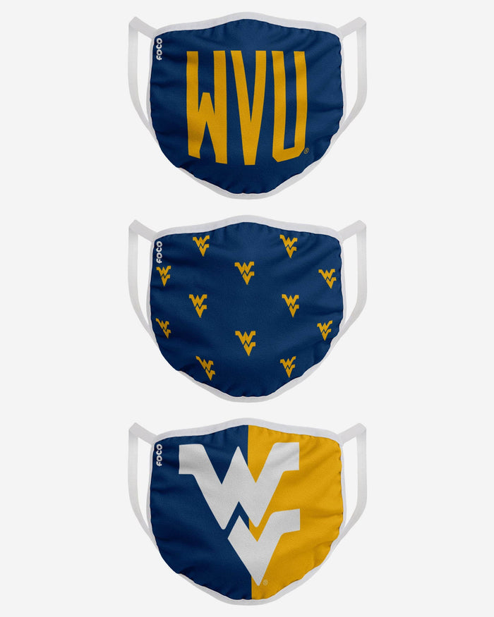 West Virginia Mountaineers 3 Pack Face Cover FOCO - FOCO.com