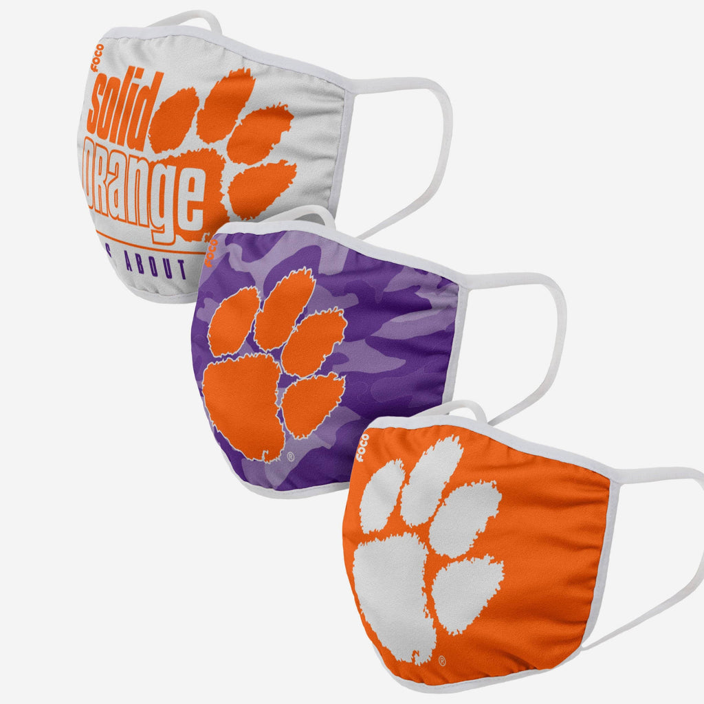Clemson Tigers Super Fan 3 Pack Face Cover FOCO - FOCO.com