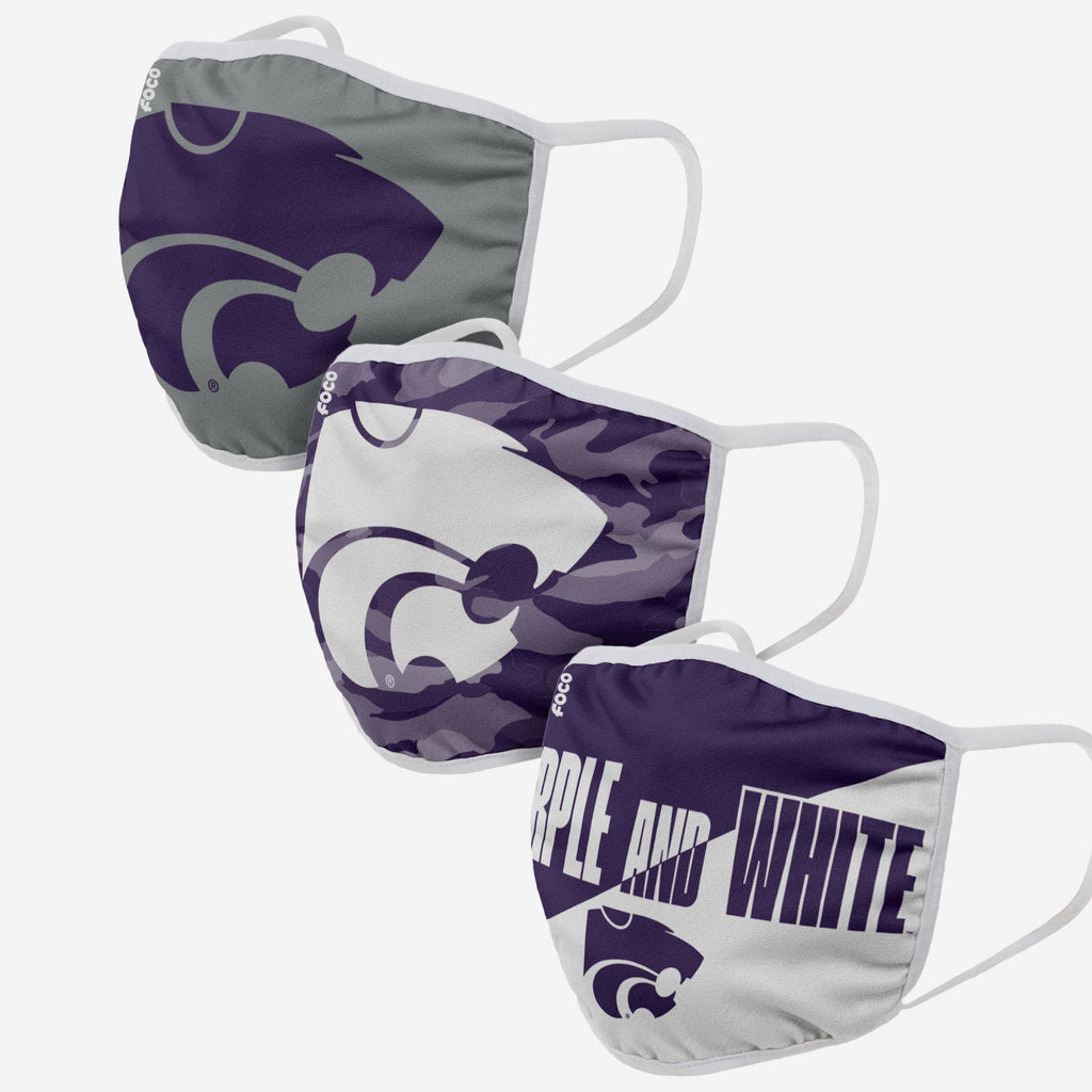 Kansas State Wildcats Super Fan 3 Pack Face Cover FOCO - FOCO.com